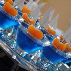 Nautical party idea: blue jello, with mandarin orange boats! by simone