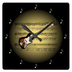 Electric Guitar 3-D Gold Globe  Sheet Music  BL Square Wall Clock - decor gifts diy home & living cyo giftidea