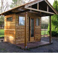 5'x7' Outdoor Sauna Kit + Heater + Accessories + Porch Roof