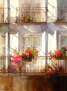 Fabio Cembranelli - Paintings 'Orange 2,' Watercolor 2013 #watercolor jd
