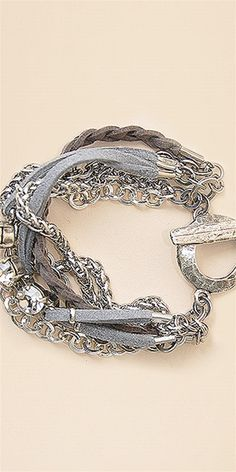 Multi Chain Bracelet with Rope and StonesAll Jewelry and Accessories are Final Sale.