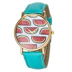 De la Mujer Sandía patrón pu banda de cuarzo reloj de pulsera (colores surtidos) – EUR € 6.43