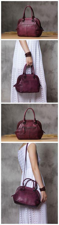 Handmade Genuine Leather Women's Fashion Tote Handbag Shoulder Bag Messenger in Rose Red 14120