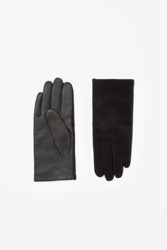 COS Leather and wool gloves in Blue Dark