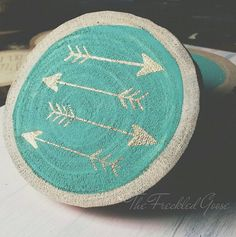 4 Gold Arrow Coasters Wooden Coaster Rustic Coasters by TheFreckledGoose