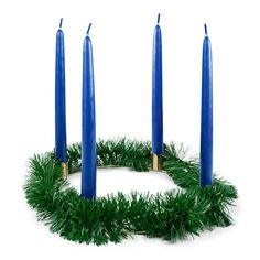 """9"""" Advent Wreath, Greens, 7/8"""" Candles (Blue)"""