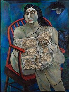 Paritosh Sen - Woman reading newspaper