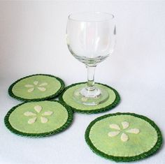 Felt Cucumber Coasters MugMats Set of Four. $20.00, via Etsy.