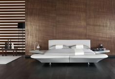 """And the Oscar goes to. An elegant and scenographic bed, designed by Mario Bellini // And the Oscar goes to. Design elegante e scenografico, dal maestro Mario Bellini (Double bed / Letto matrimoniale """"GrandPiano"""" by Flou) Padded Wall Panels, Wooden Wall Panels, Wall Wood, White King Bed Frame, Modern Double Beds, Cool Beds For Kids, Bedroom Design Inspiration, Tapis Design, Modern Bedroom Furniture"""