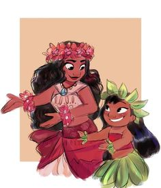 My theory- Moana is Lilo's grandmother ❤️ my theory is short but it kinda makes sense << considering that Moana takes place some years ago, that would be pretty unlikely. But Lilo could certainly be a distant descendant of Moana Moana Disney, Disney Pixar, Disney Animation, Disney Fan Art, Disney And Dreamworks, Disney Memes, Lilo Ve Stitch, Disney Magie, Film Manga