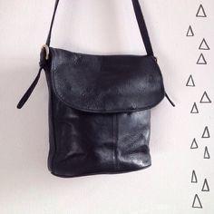 Vintage Coach Bag // Black Leather Purse // by superqueenieretro,