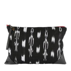 Ikat Aya Clutch in Black Leather