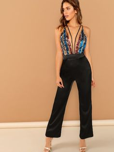 To find out about the Plunging Neck Sequin Halter Jumpsuit at SHEIN, part of our latest Jumpsuits ready to shop online today! Sequin Jumpsuit, Halter Jumpsuit, Sequin Dress, Bodycon Dress, Jumpsuit Style, Bridal Jumpsuit, Playsuit, Romwe, Skinny Waist