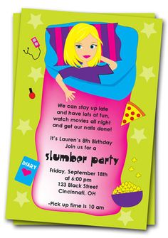 Slumber Party Birthday Invitations Printable by thepartystork, $11.00