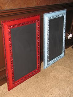 Easy steps for repurposing old art frames into oversized chalkboard signs. It's easy to repaint frames and use chalkboard paint to make this sign. Framed Chalkboard, Chalkboard Ideas, Chalk Ideas, How To Make Chalkboard, Picture Frame Chalkboard, Blackboard Art, Old Frames, Crafty Craft, Crafting