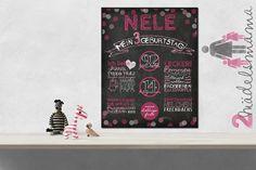 Chalkboard zum dritten Geburtstag - Design Punkte rosa / pink