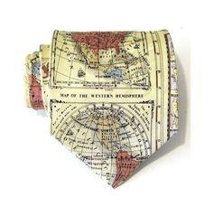 Mens Necktie Cream World Map Silk Tie by TieObsessed on Etsy, $18.95 #teampinterest