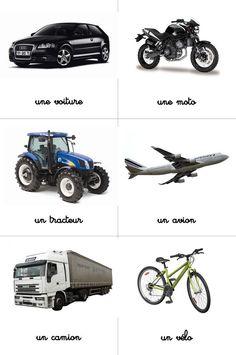 Cartes montessori nomenclature véhicules
