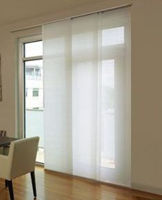Levolor® Panel Track Blinds: Designer Textures Light Filtering Source by Sliding Door Coverings, Glass Door Coverings, Patio Door Coverings, Sliding Door Window Treatments, Sliding Door Blinds, Blinds For Windows, Curtains With Blinds, Windows And Doors, Front Doors