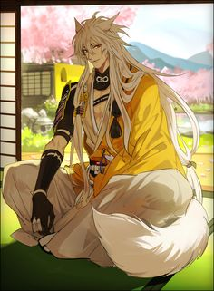 ... 909965, Touken Ranbu, Kogitsunemaru, Lake, Cherry Tree, Japanese House