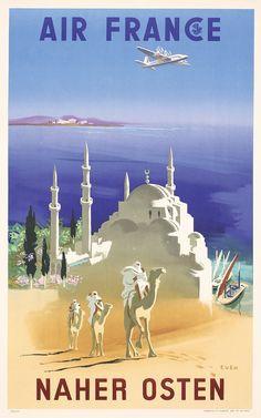 Original 1950s Air France Travel Poster NEAR EAST