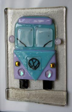 VW Split Screen Campervan Handmade Fused Glass by mysparklyglass, $25.00