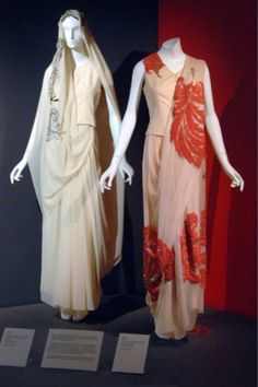 These saris were worn by Princess Niloufer Farhat Begum Saheba of Hyderabad (1916-1989). As the consort of an Indian prince, she was required to wear saris, but having grown up in France, she often commissioned designs that reflected a Western fashion sensibility in their color, motif, and placement of embellishment.These particular saris were made in India, but Princess Niloufer also commissioned saris from French designers such as Jeanne Lanvin.