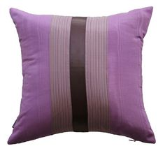 "New York 6 : 40*40cm (16""x16""). Purple jacquarette and purple striped silk with sateen purple ribbon"