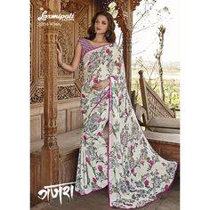 Find the White coloured #GeorgetteSaree with Multicoloured Floral Prints from #Laxmipatisarees at reasonable prices.  Mobile no : (+91) 93760 14032 (Call or Whatsapp) E-mail : info@laxmipati.com