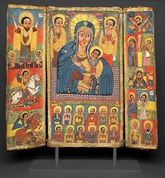 Triptych Icon with Central Image of the Virgin and Child Central Ethiopia, Late century, reign of Iyyasu I Tempera on linen, mounted on wood and bound with cord Art Institute of. Horn Of Africa, Africa Art, Religious Images, Religious Art, African Jesus, Listen To Christmas Music, Museum Studies, Madonna And Child, Art Institute Of Chicago