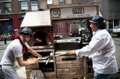 A thin-crust Neapolitan pizza baked to order emerges in less than a minute. The choices are margherita and diavola (with spicy salami). Coffee and soft drinks are also sold: Luzzo's Pizza Cart, pizzas $7 and $8; find locations on Twitter @pizzabyluzzos.