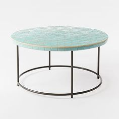 Mosaic Tiled Coffee Table - Blue Spider Web Top #westelm patio table