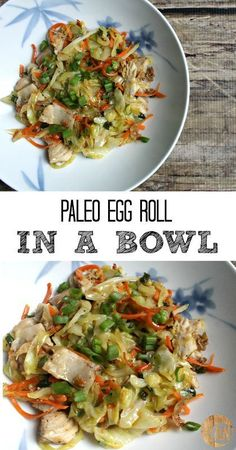 Paleo Egg Roll In a Bowl - this is a super healthy lunch or dinner that& also gluten free! Paleo Egg Roll In a Bowl - this is a super healthy lunch or dinner thats also gluten free! Whole 30 Recipes, Whole Food Recipes, Diet Recipes, Cooking Recipes, Healthy Recipes, Paleo Food, Paleo Vegan, Protein Recipes, Paleo Cabbage Recipes