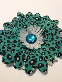 Flower Dog Collar I.M. Cheetah - aqua and white flower collar or harness bow is for sale.  With a soft felt back and a Velcro tie, this pet bow is comfortable and stylish.  Buy this bow for your pet and help a pet rescue organization at the same time.  Please visit it us at https://www.facebook.com/pages/Isabellas-Pet-Shop   Thank you  and please share our pin and cause with your family and friends.