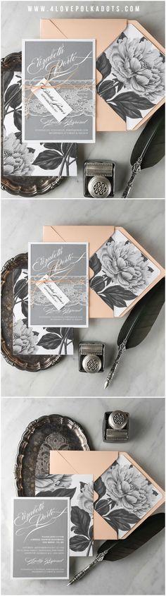 Peach & Grey Peony Wedding Bridal Shower Invitations #peach #grey #peony #peonies #botanical #bridalshower #floral #flowers #bridetobe