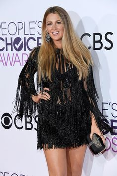 "Actress Blake Lively wore a beaded black ElieSaab Spring 2017 dress carried a RogerVivier ""Boite de Nuit"" clutch & wore Lorraine Schwartz jewelry 