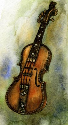 """""""Hardanger Fiddle"""" (print from original watercolor illustration by Rima Staines) from thehermitage on etsy $10.29"""