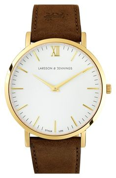 Free shipping and returns on LARSSON & JENNINGS 'Läder' Leather Strap Watch, 40mm at Nordstrom.com. A sleek, Swiss-made unisex watch exudes timeless sophistication with a clean two-hand dial and a luxe Italian-leather strap.