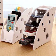 1pcs - 3pcs DIY wooden Desk Remote Controller Storage Box TV DVD VCR Step Mobile Phone Holder Stand stationery organizer