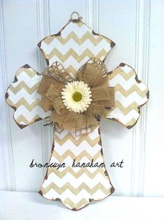 Taupe and White Chevron Cross Door Hanger  by BronwynHanahanArt