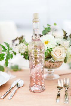 Calligraphy wine bottle detail