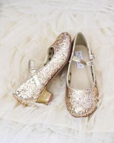 Girls Glitter Heels - Allover GOLD Glitter Maryjane Heels