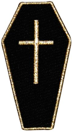 "[Single Count] Custom and Unique (1 1/2"" by 2 2/3"" Inches) Goth Death Gothic Casket Coffin Iron On Embroidered Applique Patch {Black and Gold Colors}"