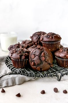 Super moist chocolate muffins made with cocoa powder and LOTS of chocolate chips! Enjoy these rich and decadent muffins for breakfast or dessert!