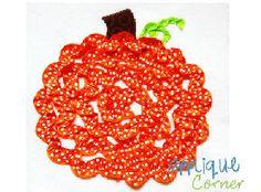 Pumpkin Swirl Ribbon Applique Design