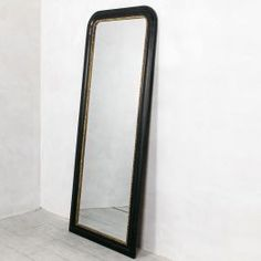 Charlie Large Black and Gold Beaded Mirror