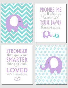 Purple Teal Wall Art Elephant Nursery Girl Kids Wall by vtdesigns