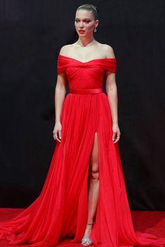 Léa Seydoux en robe sur-mesure Miu Miu à la première du film Spectre à Mexico