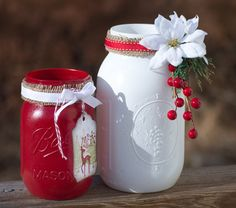Painted Mason Jars Christmas Decor Hand by WNCarolinaGirl, $30.00