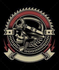 Buy Vintage Biker Skull Emblem by vectorfreak on GraphicRiver. fully editable vector illustration (editable EPS) of biker skull emblem isolated on black background, image suitable . Biker Tattoos, Skull Tattoos, Motorcycle Art, Bike Art, Psychobilly, Art Harley Davidson, Dessin Old School, Biker T-shirts, Vintage Biker